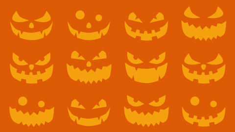 Halloween silhouettes background, Spooky and crazy pumpkins, Loop Animation