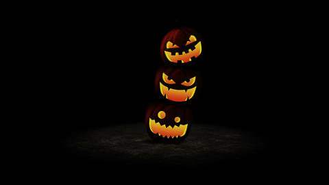 Halloween pumpkin head jack lantern, Loop Animation