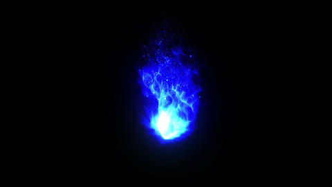 Burning Fire Flames with Sparks, Blue, Loop Animation