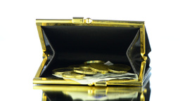 Black Leather Purse with money Stock Video Footage