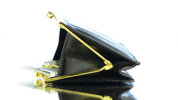 Black Leather Purse with money Footage