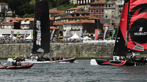 Participants compete in the Extreme Sailing Series Stock Video Footage