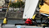 SAP Extreme Sailing Team Compete In The Extreme Sailing Series stock footage