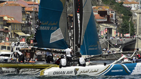 Oman Air compete in the Extreme Sailing Series Stock Video Footage