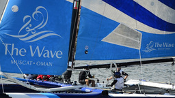 The Wave - Muscat compete in the Extreme Sailing Series Stock Video Footage