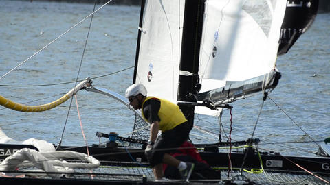 SAP Extreme Sailing Team compete in the Extreme Sailing... Stock Video Footage