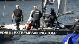 Red Bull Sailing Team compete in the Extreme Sailing Series Stock Video Footage
