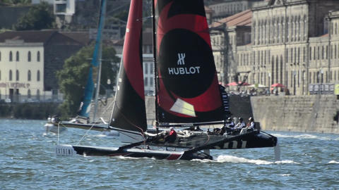 Alinghi compete in the Extreme Sailing Series Stock Video Footage