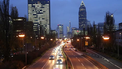 Rush hour in the evening Frankfurt Germany Stock Video Footage