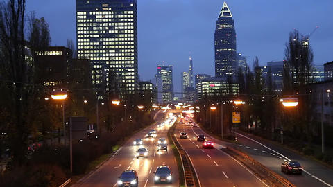 Rush hour in the evening Frankfurt Germany Footage