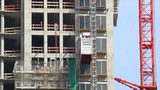 Construction elevator moves up Footage
