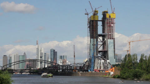 Construction of the new European Central Bank in Frankfurt Germany Footage
