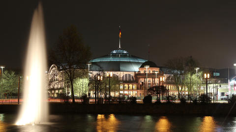 Time lapse of concert hall at night in Frankfurt Germany Stock Video Footage