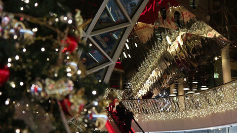 Shopping mall at Christmas time Stock Video Footage