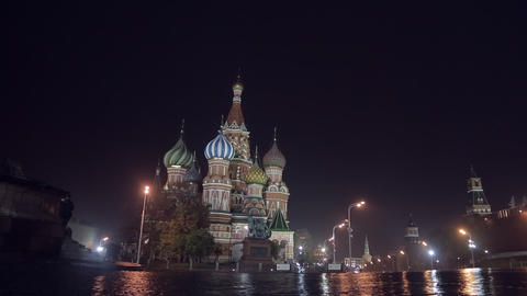 Night Red Square pan Stock Video Footage