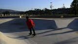 Skateboarder riding a pool Footage