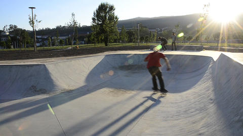 Skateboarder riding a pool Stock Video Footage