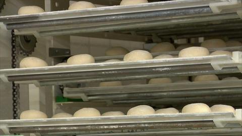 10739 german bakery roll bun on conveyor belt elevator Stock Video Footage