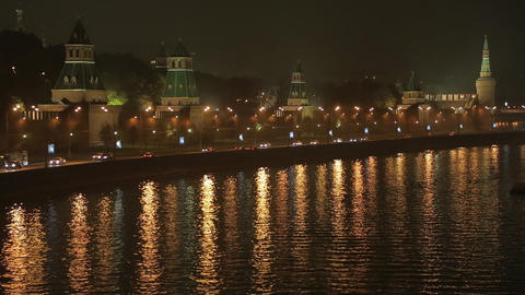 night Kremlin Embankment Stock Video Footage