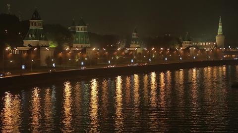 night Kremlin Embankment Stock Video Footage