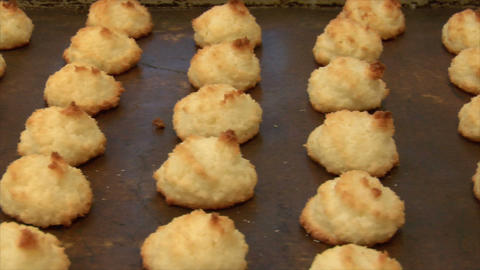 german bakery freshly baked coconut macaroons dolly 10740 Stock Video Footage