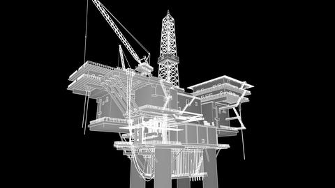 Construction of the oil platform, wireframe Stock Video Footage