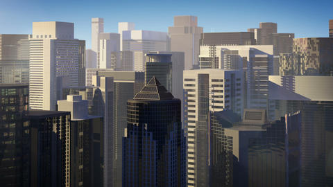 Skyscrapers over blue sky Animation