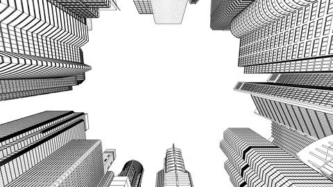 Wire frame cityscape Stock Video Footage