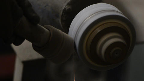 Grinding a steel rod Stock Video Footage
