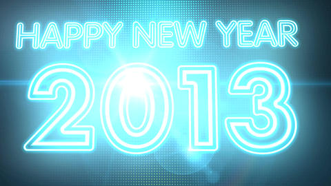 Happy New Year 2013 Neon Sign HD Stock Video Footage