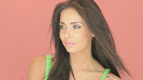 Pretty brunette with blue-grey eyes Stock Video Footage
