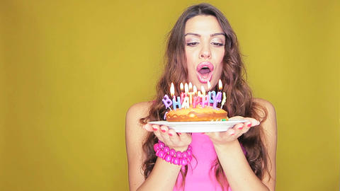 Blowing out the birthday candles Stock Video Footage