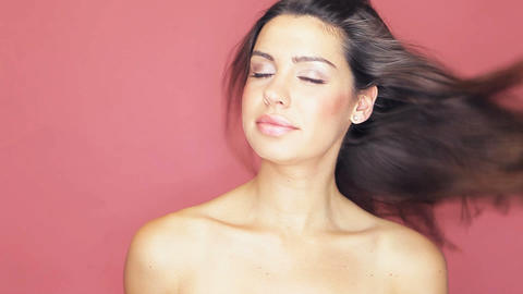 Beautiful naked woman with hair blowing Stock Video Footage