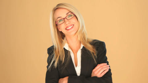 Blonde businesswoman with crossed arms Stock Video Footage
