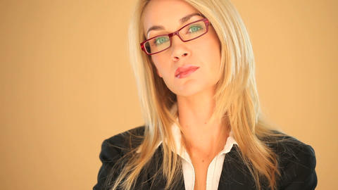 Blonde businesswoman smiling Stock Video Footage