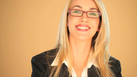 Blonde businesswoman smiling Footage