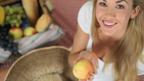 Beautiful blonde woman on a picnic Stock Video Footage