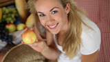 Beautiful Blonde Woman On A Picnic stock footage