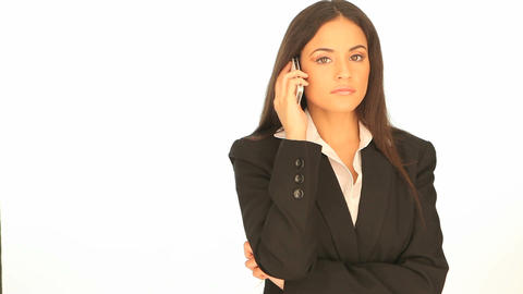 Beautiful businesswoman using her mobile Stock Video Footage