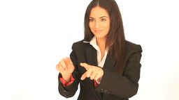 Businesswoman using interactive display Stock Video Footage