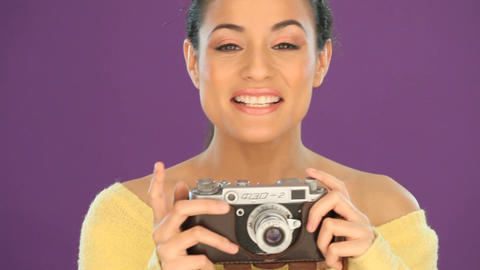 Woman with vintage camera Stock Video Footage