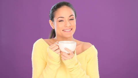 Pretty smiling woman drinking tea Stock Video Footage