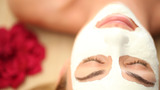 Face Mask On Blonde Woman stock footage