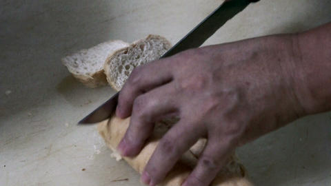 Cutting Bread Stock Video Footage