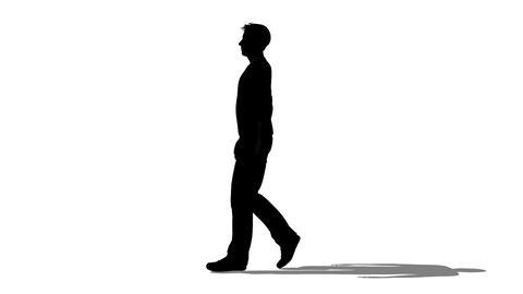 歩く男性のシルエット Stock Video Footage