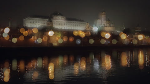 night Kremlin Embankment bokeh Stock Video Footage