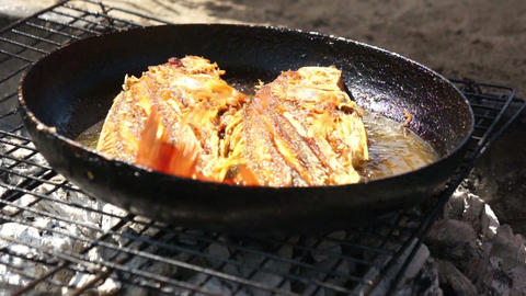 Fried Fish Stock Video Footage