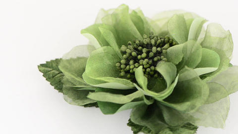 Green fabric flower Stock Video Footage