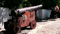 Greece the Aegean Sea Kos 026 historical cannon on the castle plateau Footage