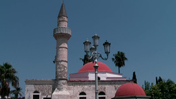 Greece the Aegean Sea Kos 038 mosque with red domes and a minaret Footage